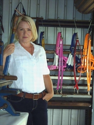 Jody in her colourful workshop